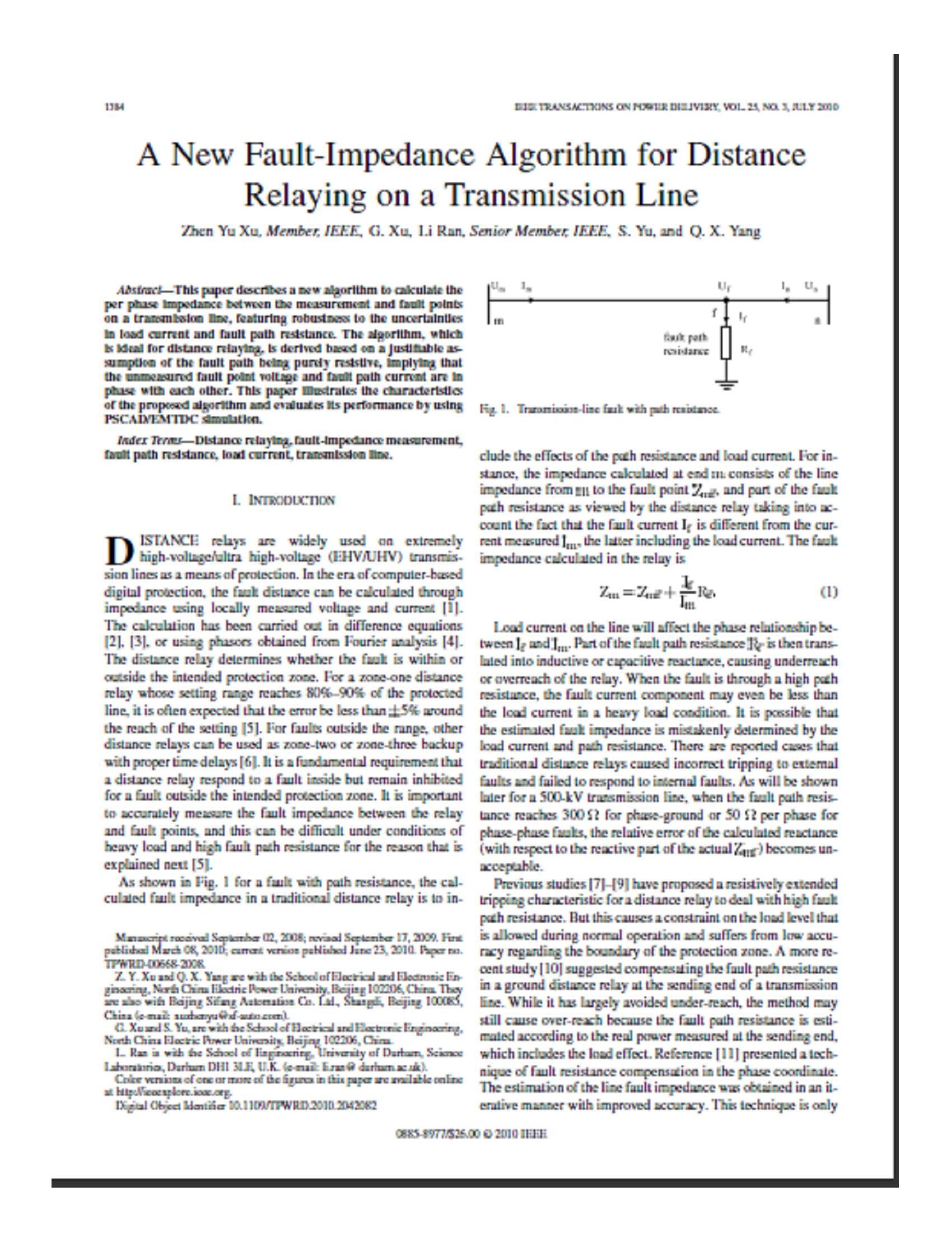 A New Fault-Impedance Algorithm for Distance 9