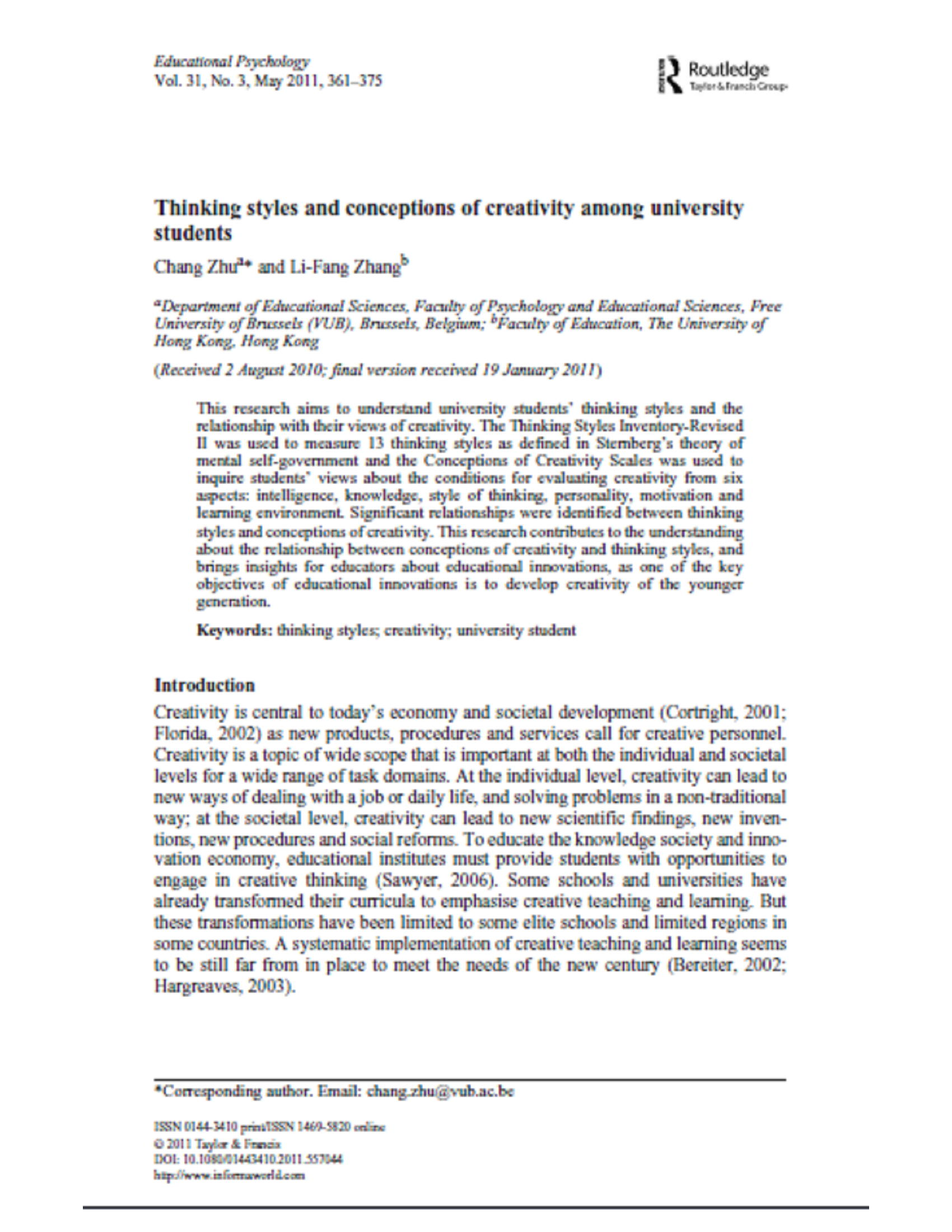 Thinking styles and conceptions of creativity among university students 16