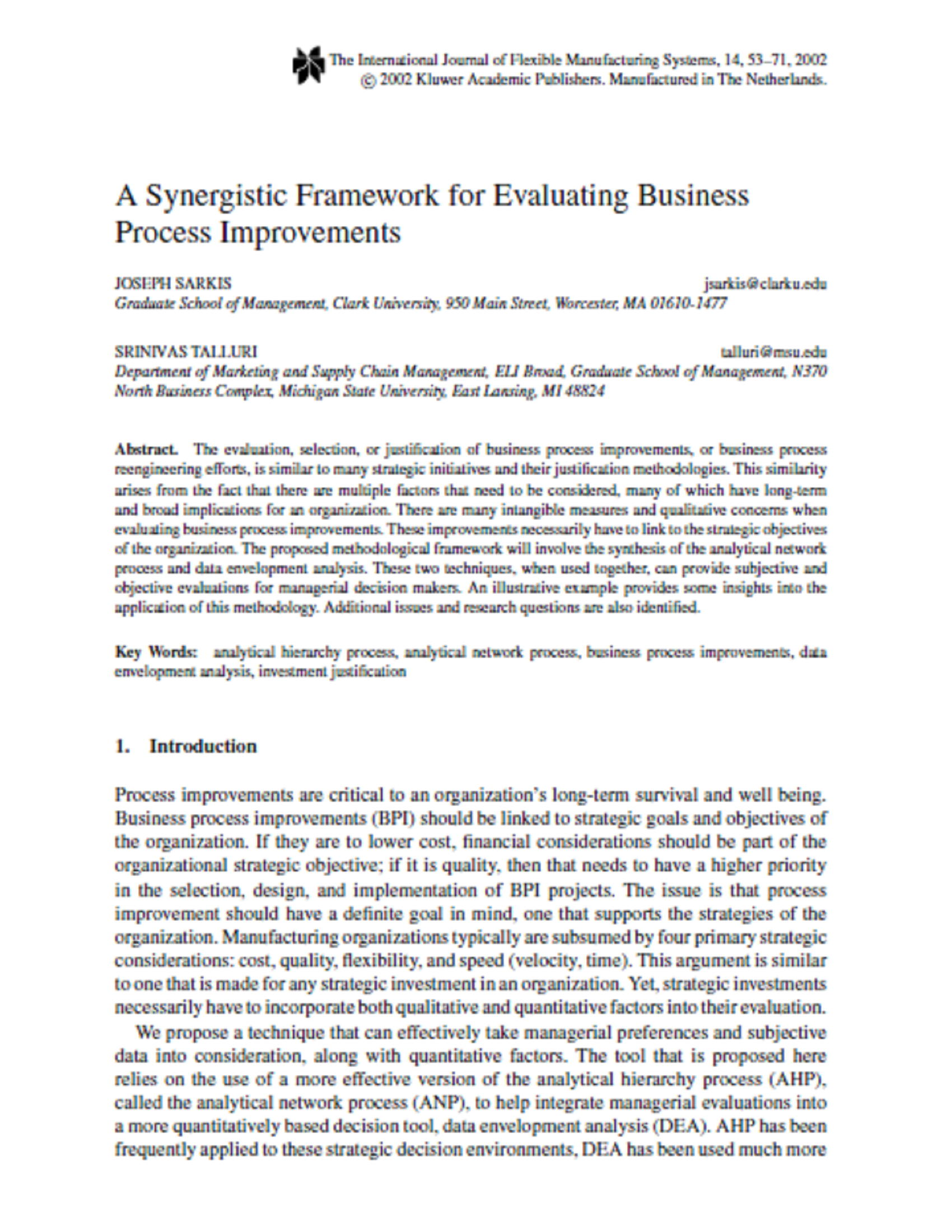 A Synergistic Framework for Evaluating Business Process Improvements 35