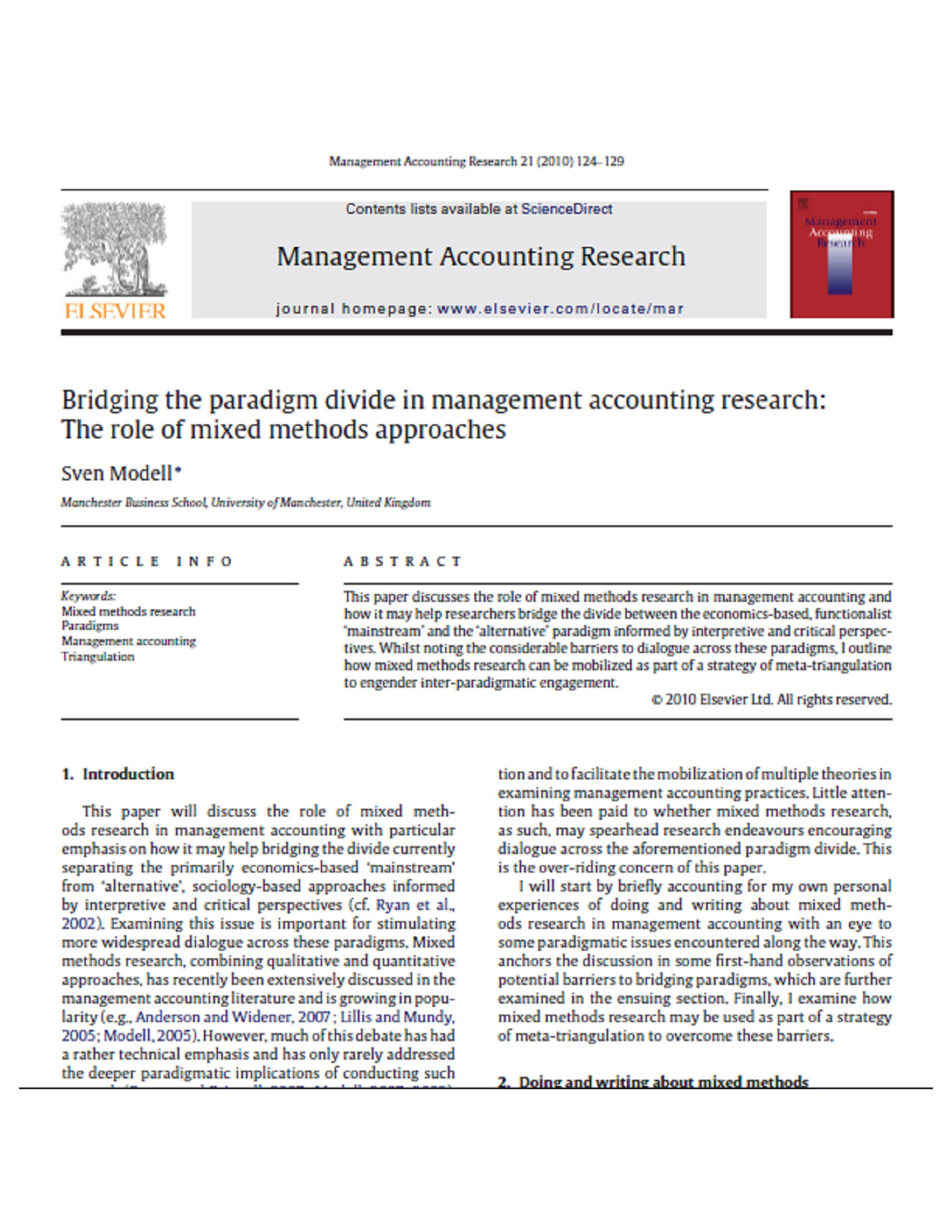 Bridging the paradigm divide in management accounting research: The role of mixed methods approaches 6