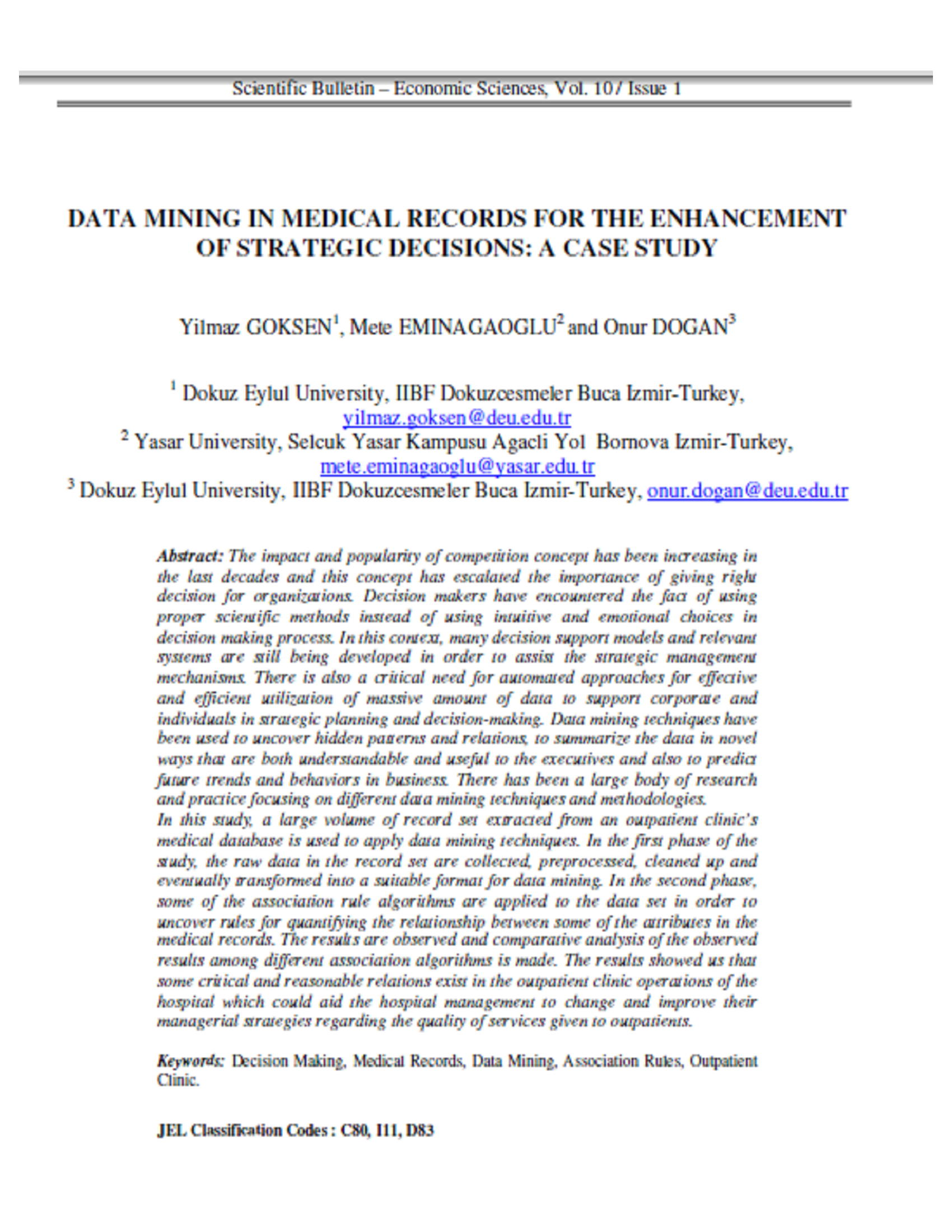 DATA MINING IN MEDICAL RECORDS FOR THE ENHANCEMENT OF STRATEGIC DECISIONS 10