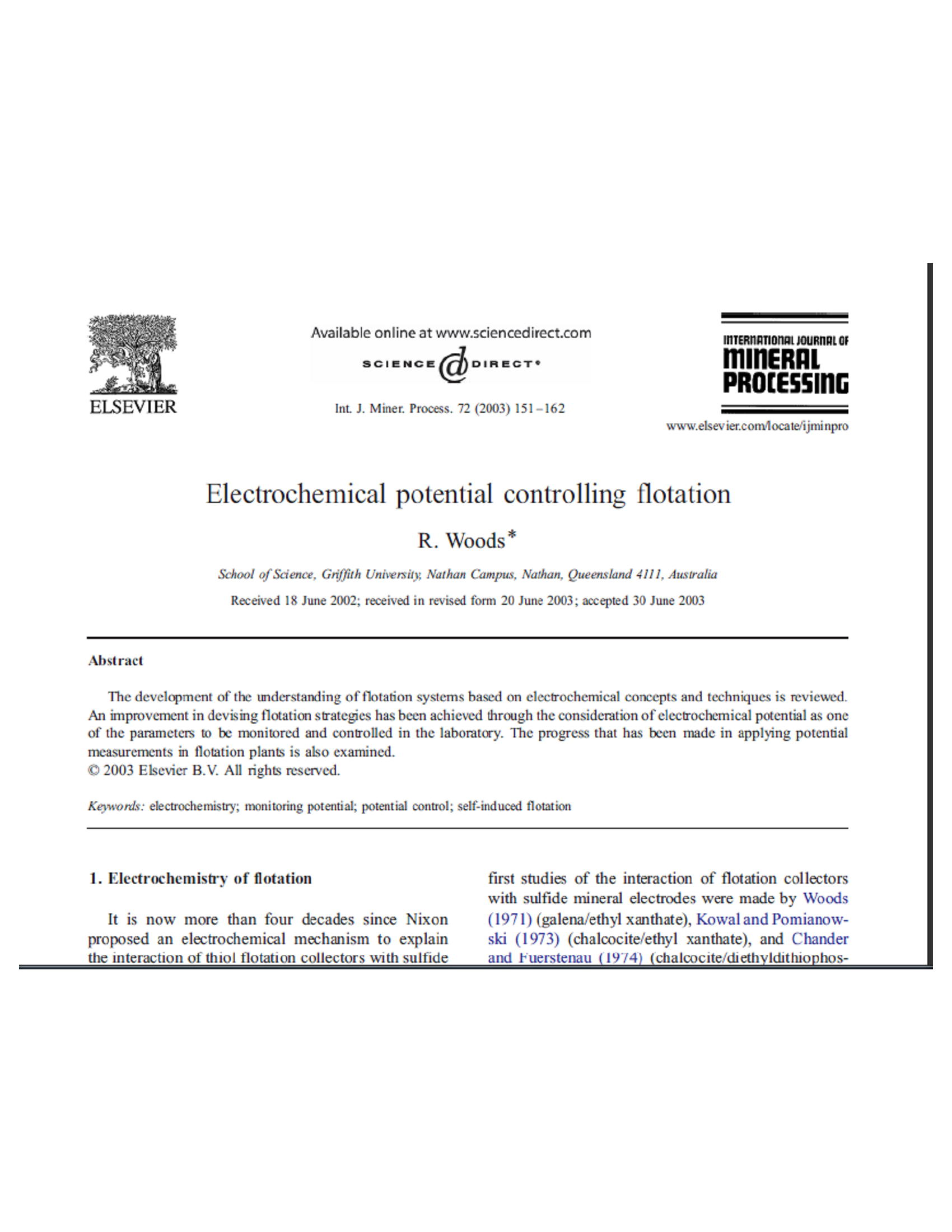 Electrochemical potential controlling flotation 12