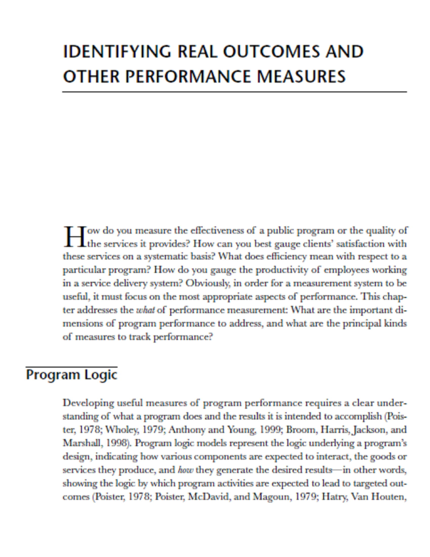 IDENTIFYING REAL OUTCOMES AND OTHER PERFORMANCE MEASURES 5