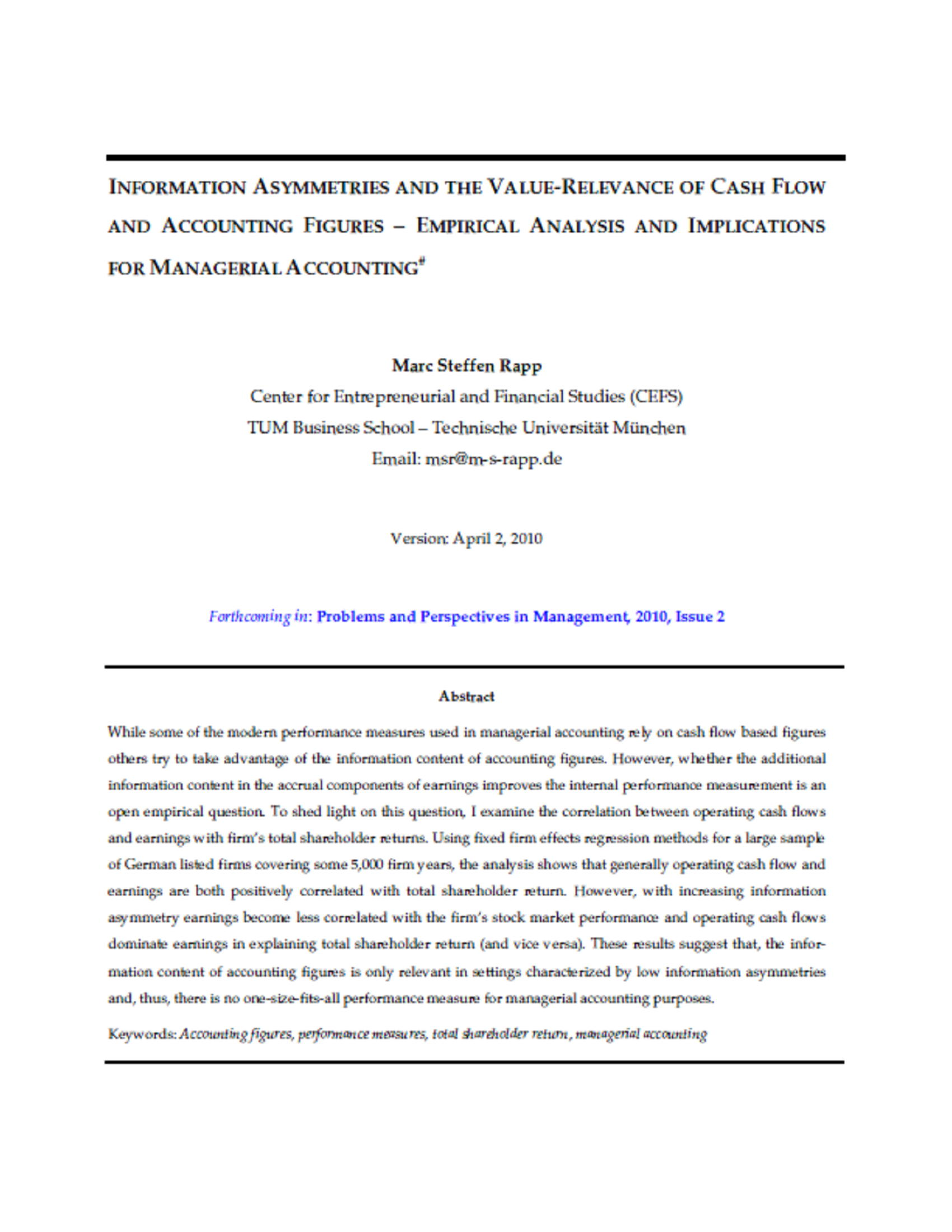 INFORMATION ASYMMETRIES AND THE VALUE-RELEVANCE OF CASH FLOW AND ACCOUNTING FIGURES 25