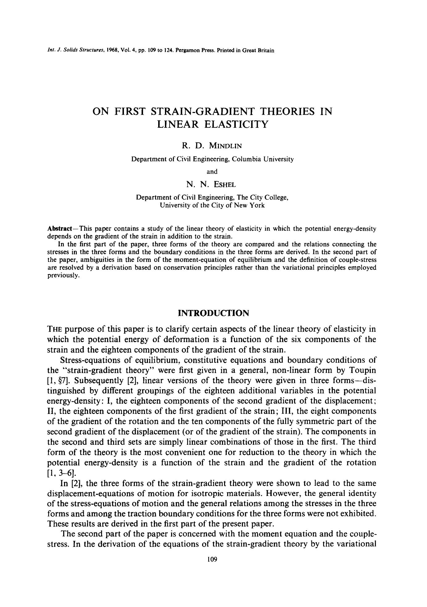 ON FIRST STRAIN-GRADIENT THEORIES IN LINEAR ELASTICITY 16