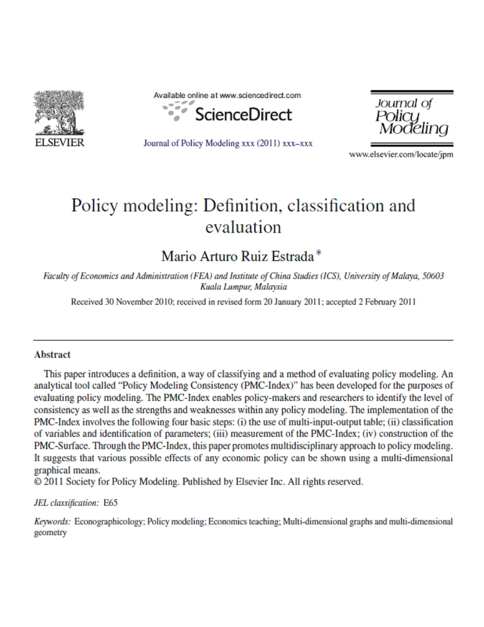 Policymodeling:Definition,classificationand evaluation 14