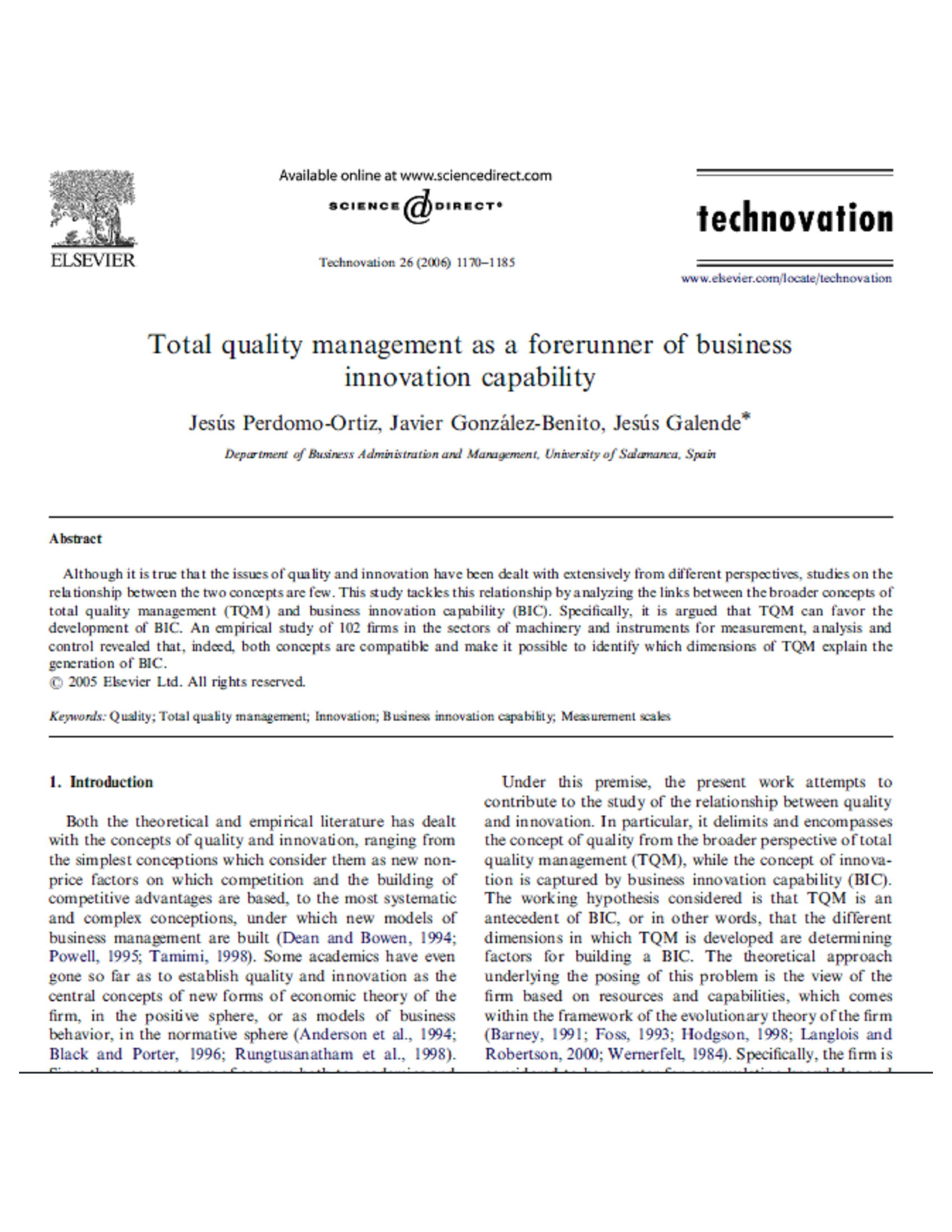 Total quality management as a forerunner of businessinnovation capability 16