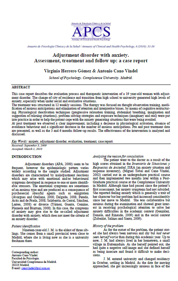 adjustment disorder with anxiety. assessment, treament, treament and follow up: a case report