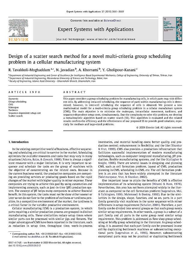 Design of a scatter search method for a novel multi-criteria group scheduling  problem in a cellular manufacturing system