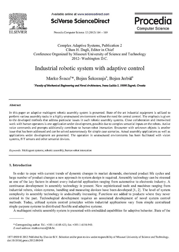 Industrial robotic system with adaptive control