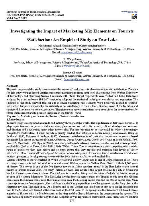 Investigating the Impact of Marketing Mix Elements on Tourists Satisfaction