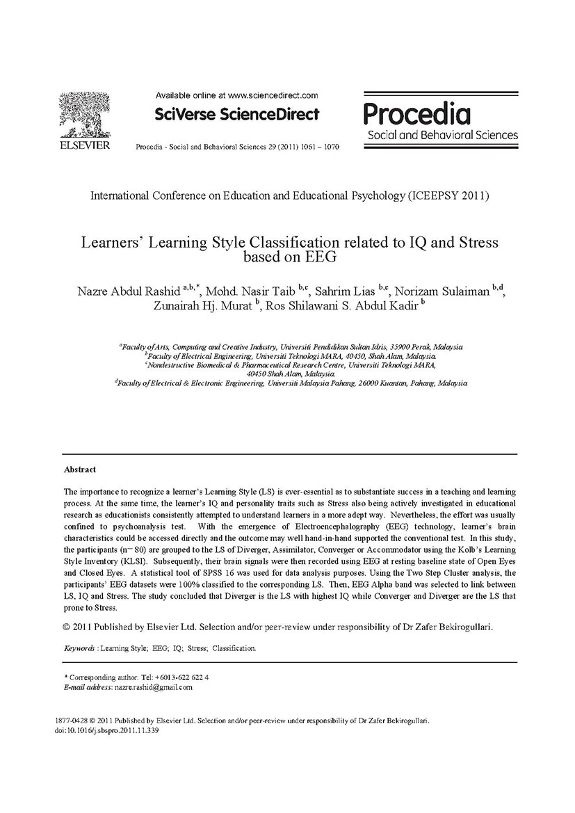 Learners' Learning Style Classification related to IQ and Stress based on EEG