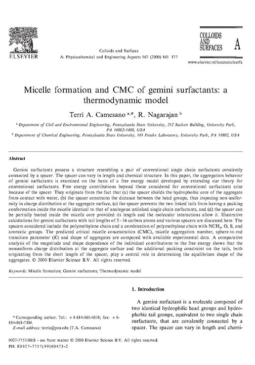 Micelle formation and CMC of gemini surfactants