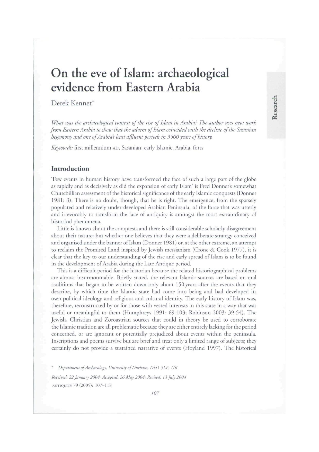 On the eve of Islam archaeological evidence from Eastern Arabia