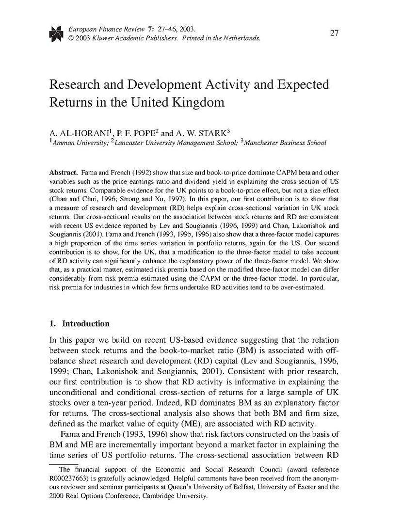 Research and Development Activity and Expected Returns in the United Kingdom