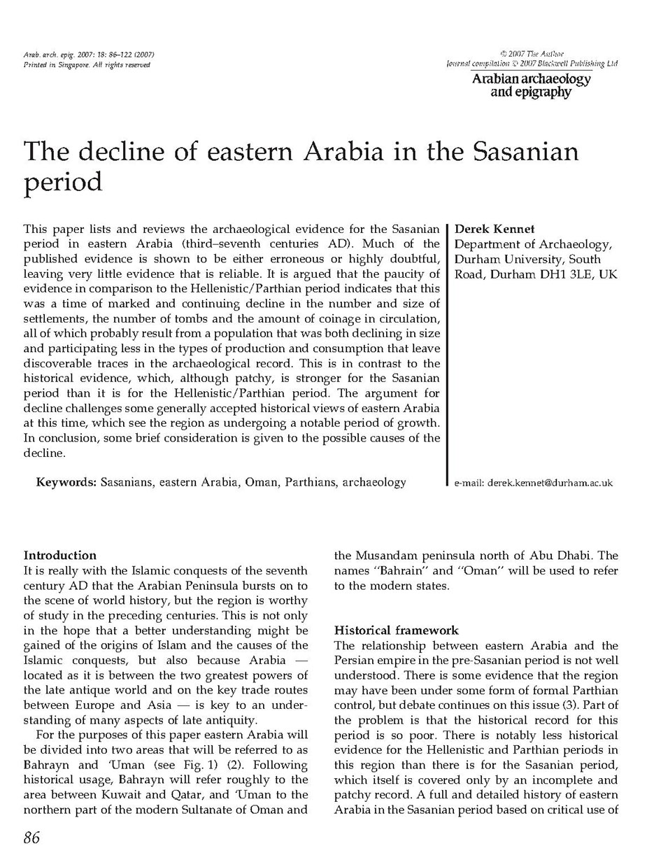 The decline of eastern Arabia in the Sasanian period
