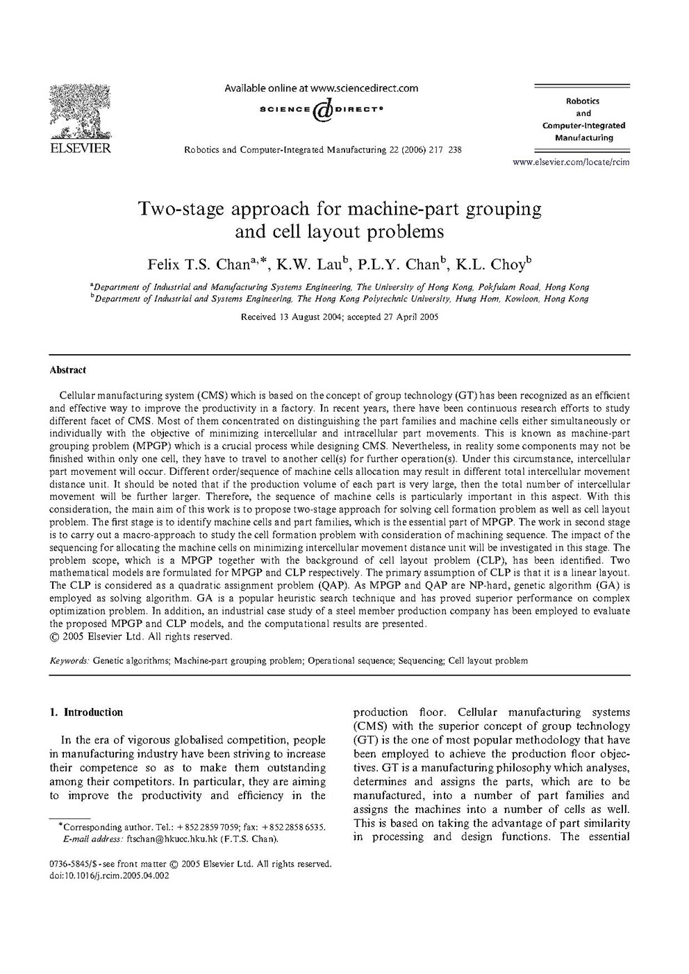 Two-stage approach for machine-part grouping and cell layout problems