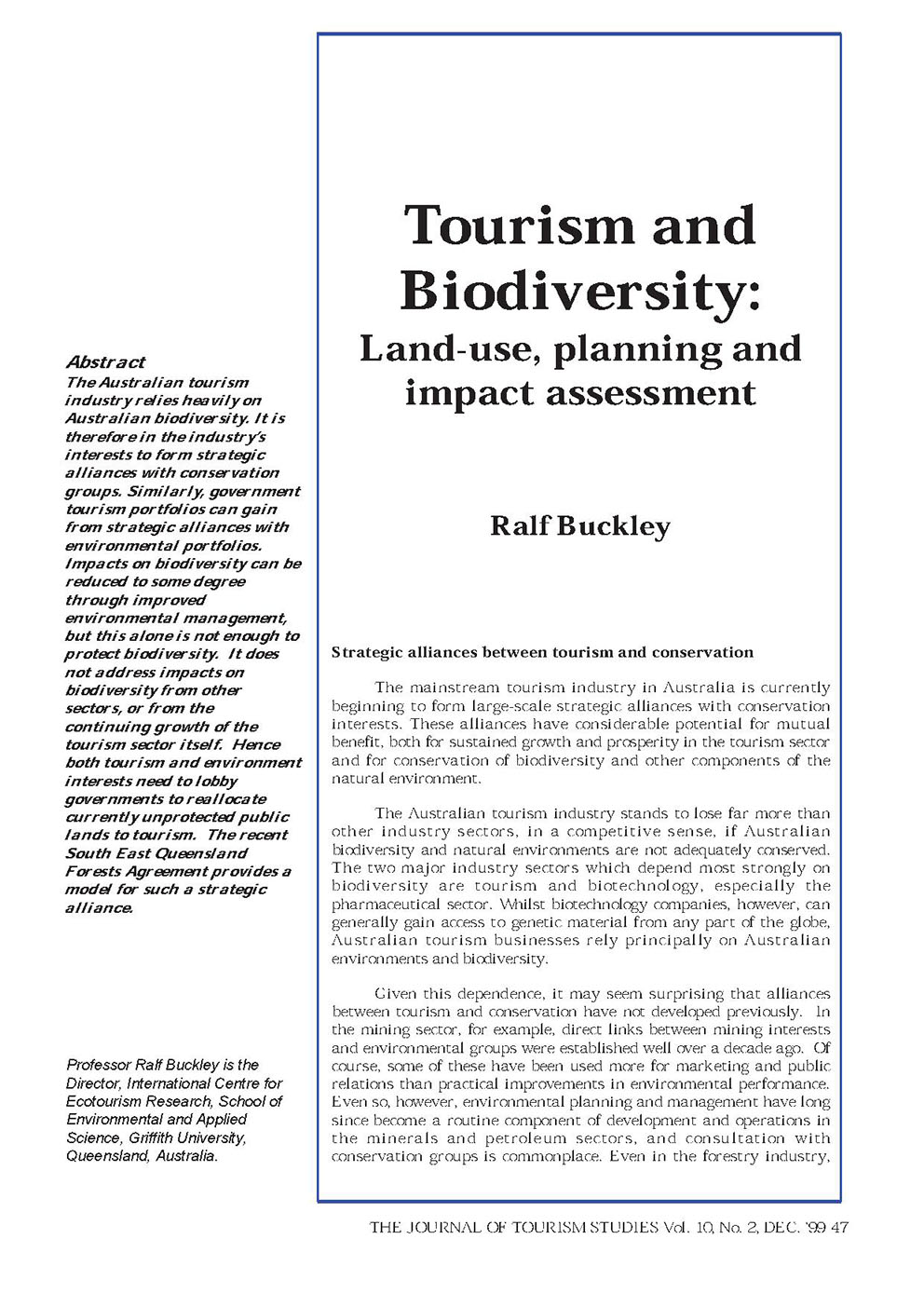 tourism and biodiversity