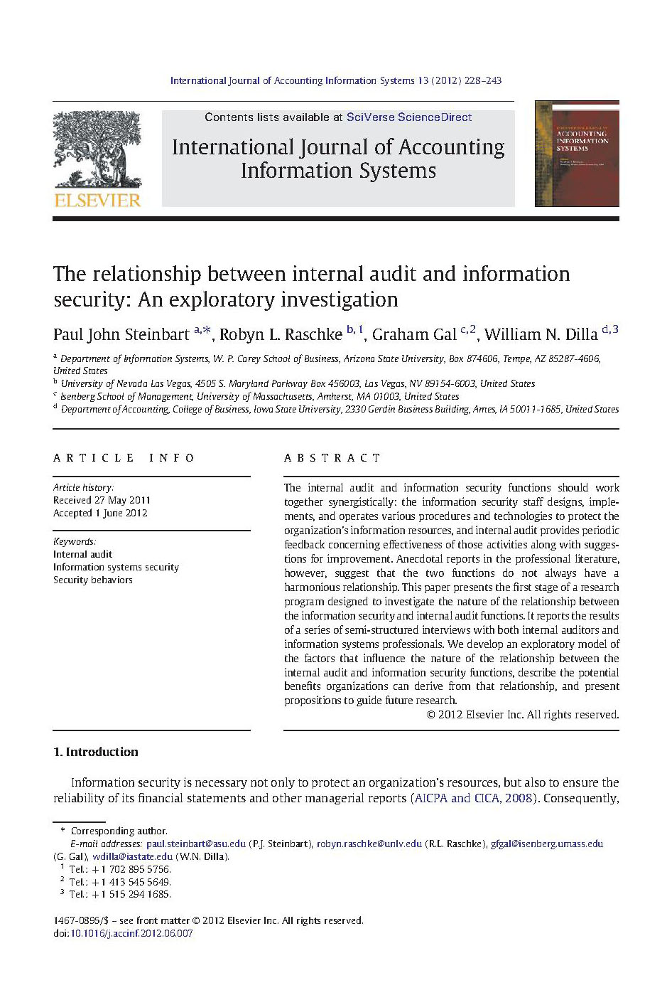 The relationship between internal audit and information security: An exploratory investigation